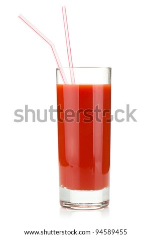 Tomato juice in a glass with two drinking straws. Isolated on white background - stock photo