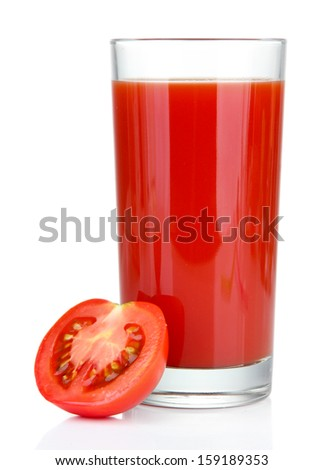 Tomato juice in glass, isolated on white - stock photo