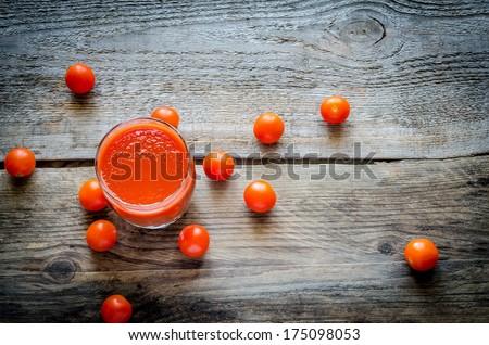 Tomato juice with cherry tomatoes - stock photo