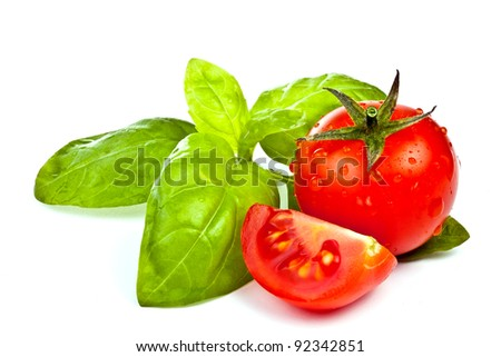 tomato of Pachino and basil on white background - stock photo