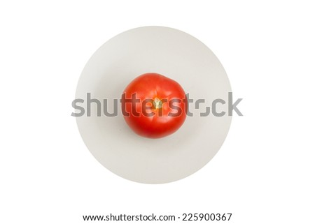 Tomato on Plate with White Background  - stock photo