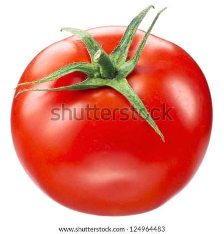 tomato on white. with clipping path - stock photo