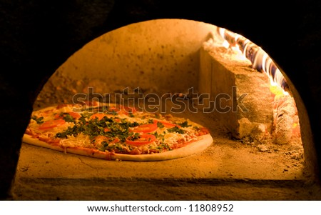 Tomato Onion and Basil Pizza - stock photo