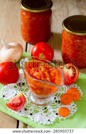Tomato-onion sauce homemade - stock photo