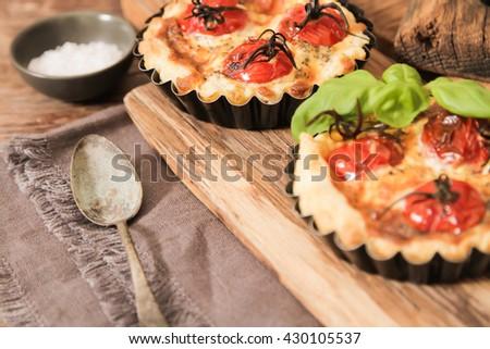 tomato quiche with wine, the national prescription France, - stock photo