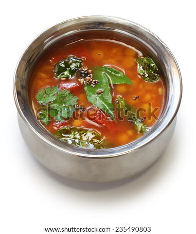 tomato rasam, south indian soup isolated on white background - stock photo