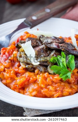 Tomato risotto, red rice with fried chicken liver, onions, homemade Italian dish - stock photo