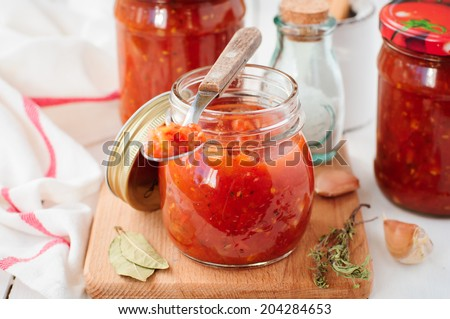 Tomato Sauce, Canned Marinara Preserves, selective focus on the jar, copy space for your text - stock photo