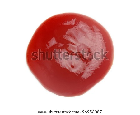 tomato sauce closeup isolated over white - stock photo