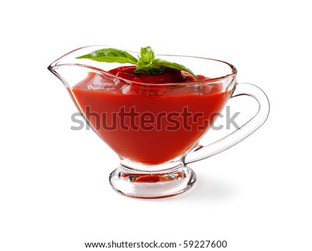 tomato sauce with basil leaf on a white background and with soft shadow - stock photo