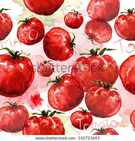 Tomato seamless texture watercolor - stock photo