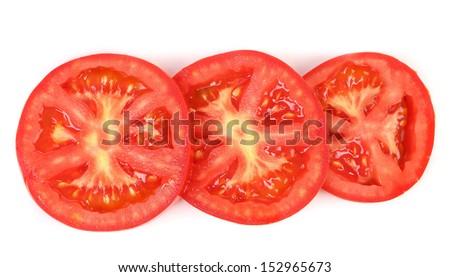 Tomato slice isolated on white background. - stock photo