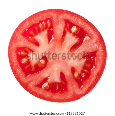 Tomato slice isolated on white background, top view - stock photo