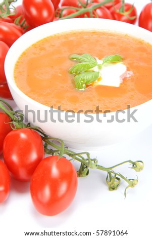 Tomato soup decorated with basil and cream with fresh tomatoes around it - stock photo