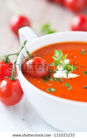 tomato soup in a bowl - stock photo