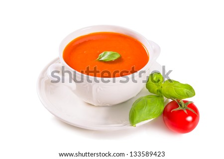 Tomato soup on a white background - stock photo