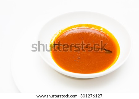 tomato soup with olive oil - stock photo