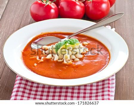 Tomato soup with pasta - stock photo