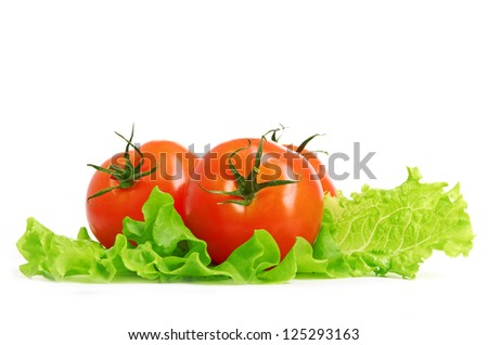 Tomato vegetable and lettuce salad - stock photo