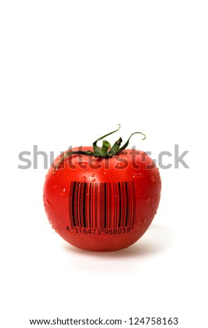 Tomato with barcode - stock photo