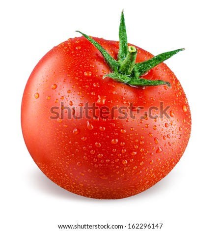Tomato with drops isolated on white background - stock photo