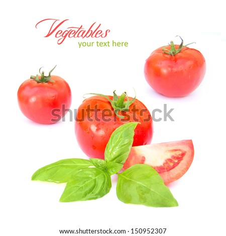 tomato with leaf of basil isolated on white  - stock photo