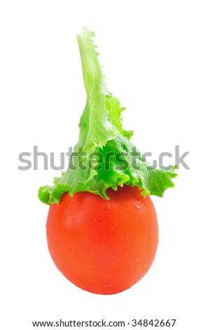 tomato with lettuce head - stock photo
