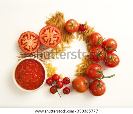 tomatoes and pasta variety , top view image - stock photo
