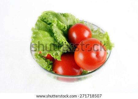 tomatoes and salad  - stock photo