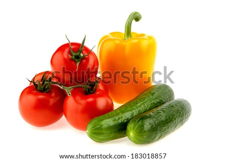 Tomatoes, Bell peppers, cucumbers - stock photo