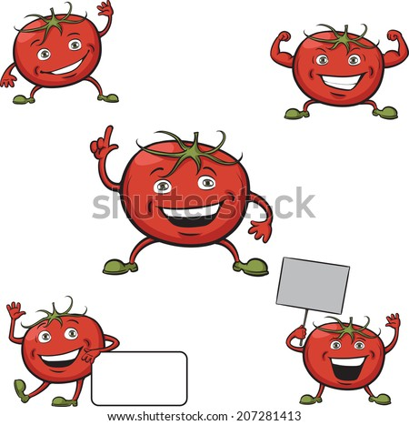 Tomatoes cartoon figures on white background - stock photo