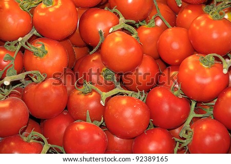 tomatoes in a market - stock photo