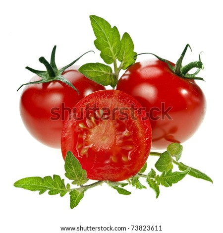 tomatoes isolated white background - stock photo