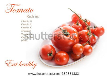 Tomatoes Nutrition Facts. Healthy food diet. Eat healthy. Tomatoes. Cherry tomatoes. Cocktail tomatoes isolated on white background - stock photo