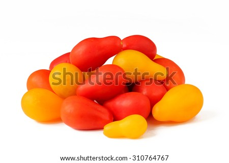 Tomatoes red and yellow colors pear shaped isolated on white - stock photo