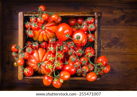 Tomatoes top view.Fresh tomatoes background. - stock photo