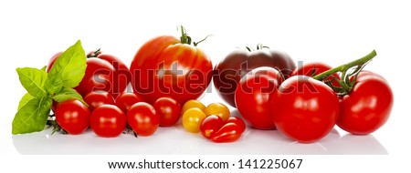 tomatoes with basil isolated on white background - stock photo