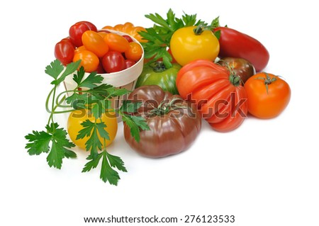 tomatoes with different forms and colors on white background - stock photo