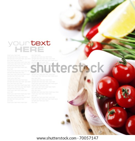 Tomatos, chives, peppers, lemon, mushrooms and garlic on white background. With sample text - stock photo