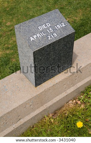 Tomb of an unknown victim of the HMS Titanic in an Halifax cemetery - stock photo