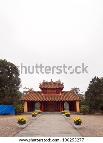 Tomb of Minh Mang in Hue, Vietnam - A UNESCO World Heritage Site - stock photo