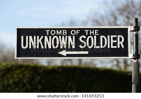 Tomb of the Unknown Soldier Sign at Arlington Cemetery - stock photo