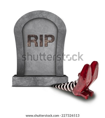 Tomb stone falling on the wicket witch - stock photo