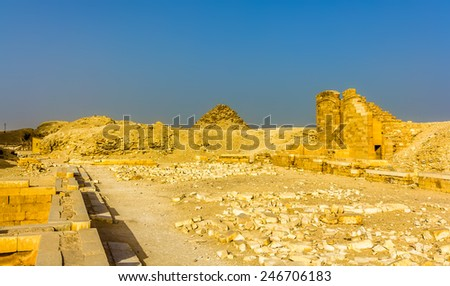 Tombs and pyramids at Saqqara - Egypt - stock photo