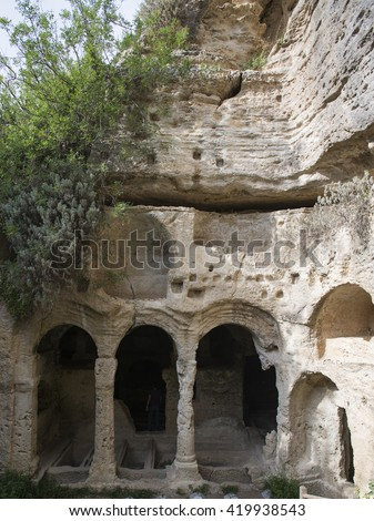 tombs in the ancient city of Seleucia Pieria - stock photo