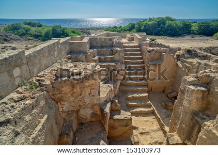 Tombs of the Kings archaeological museum in Paphos on Cyprus - stock photo