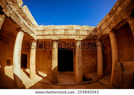 Tombs of the Kings - impressive ancient necropolis. Paphos District, Cyprus. - stock photo