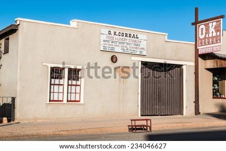 TOMBSTONE, ARIZONA - NOV 15, 2014: The historic OK Corral in Tombstone, Arizona. - stock photo
