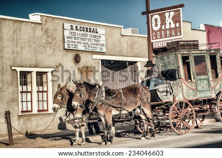 TOMBSTONE, ARIZONA - NOV 15, 2014: The historic OK Corral with a stagecoach in front, located in Tombstone, Arizona. - stock photo