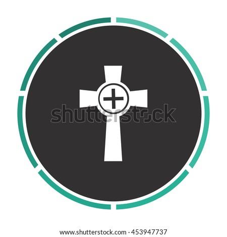 Tombstone - cross gravestone. White circle button on black background - stock photo